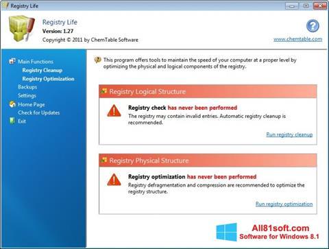 Snimak zaslona Registry Life Windows 8.1