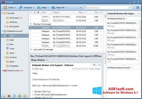 Snimak zaslona FoxMail Windows 8.1