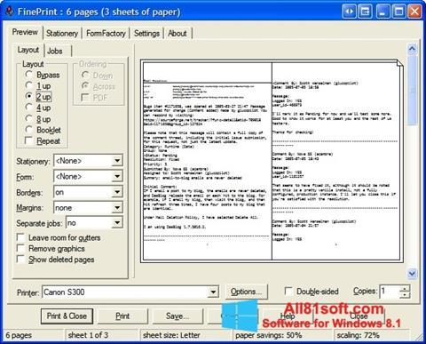 Snimak zaslona FinePrint Windows 8.1