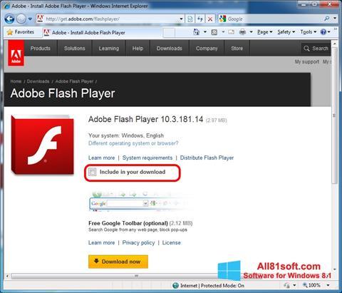 Snimak zaslona Adobe Flash Player Windows 8.1