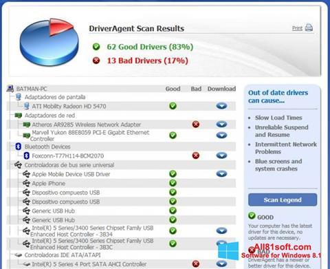Snimak zaslona DriverAgent Windows 8.1