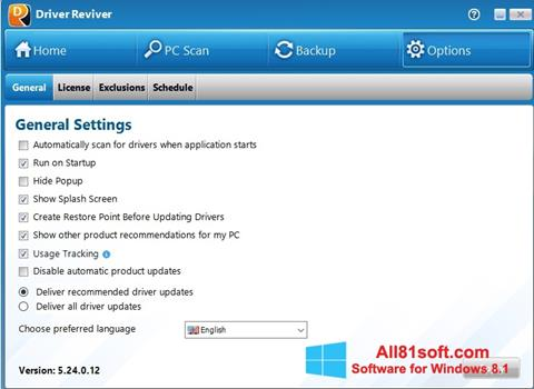 Snimak zaslona Driver Reviver Windows 8.1