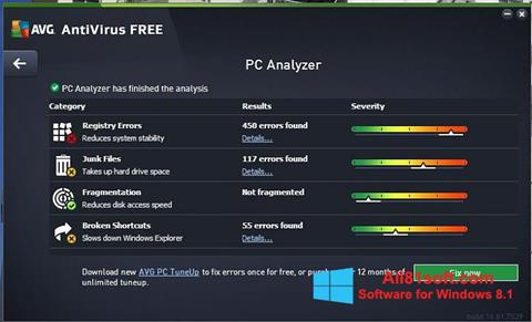 Snimak zaslona AVG AntiVirus Free Windows 8.1
