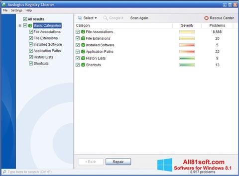Snimak zaslona Auslogics Registry Cleaner Windows 8.1