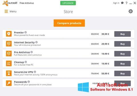 Snimak zaslona Avast Free Antivirus Windows 8.1