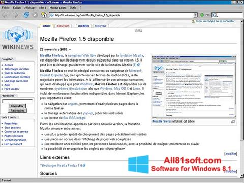 Snimak zaslona Mozilla Firefox Windows 8.1