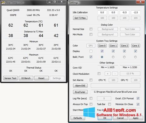 Snimak zaslona Real Temp Windows 8.1