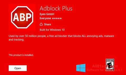 Snimak zaslona Adblock Plus Windows 8.1