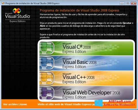 Snimak zaslona Microsoft Visual Studio Windows 8.1