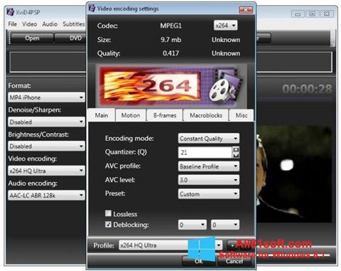 Snimak zaslona XviD4PSP Windows 8.1