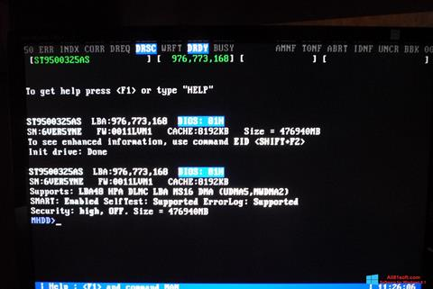 Snimak zaslona MHDD Windows 8.1