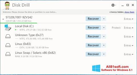 Snimak zaslona Disk Drill Windows 8.1