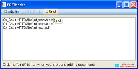 Snimak zaslona PDFBinder Windows 8.1