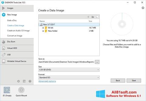 Snimak zaslona DAEMON Tools Lite Windows 8.1