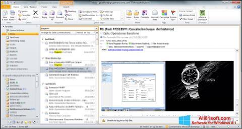 Snimak zaslona Microsoft Outlook Windows 8.1