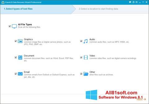 Snimak zaslona EaseUS Data Recovery Wizard Windows 8.1