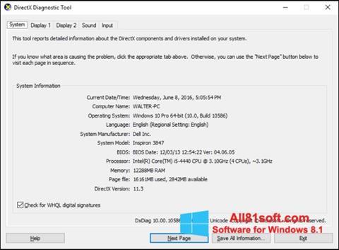 Snimak zaslona DirectX Windows 8.1