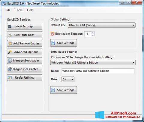 Snimak zaslona EasyBCD Windows 8.1