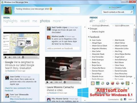 Snimak zaslona Windows Live Messenger Windows 8.1