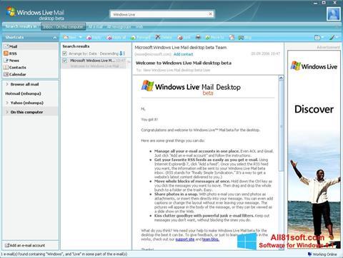 Snimak zaslona Windows Live Mail Windows 8.1