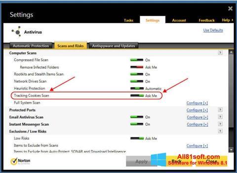 Snimak zaslona Norton Windows 8.1