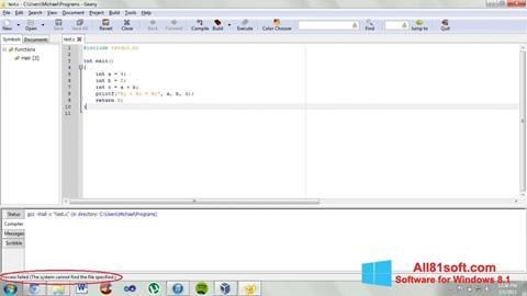 Snimak zaslona Geany Windows 8.1