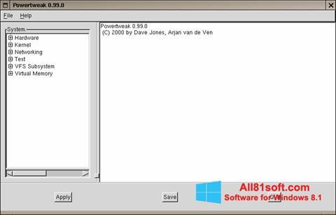 Snimak zaslona PowerTweak Windows 8.1