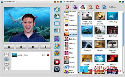 Snimak zaslona WebcamMax Windows 8.1