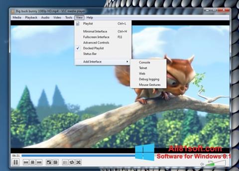 Snimak zaslona VLC Media Player Windows 8.1