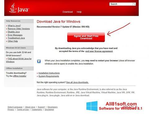 Snimak zaslona Java Windows 8.1