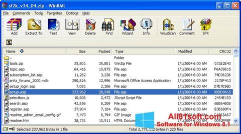 Snimak zaslona WinRAR Windows 8.1