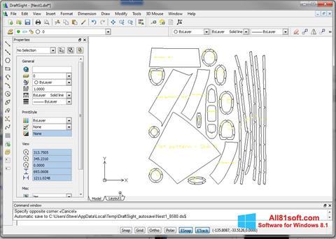 Snimak zaslona DraftSight Windows 8.1