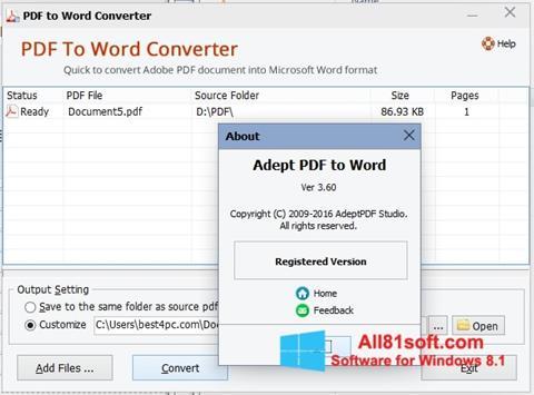 Snimak zaslona PDF to Word Converter Windows 8.1