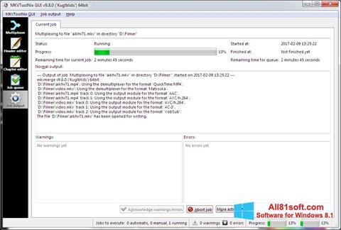 Snimak zaslona MKVToolnix Windows 8.1