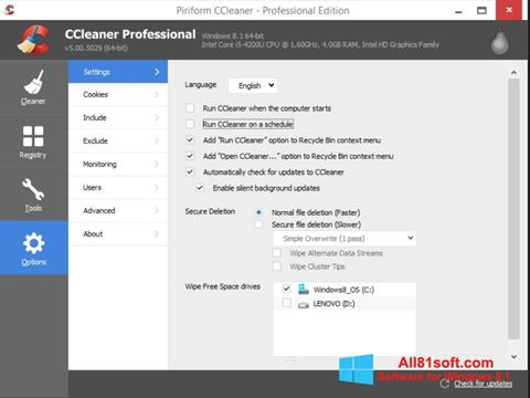 Snimak zaslona CCleaner Windows 8.1