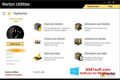 Snimak zaslona Norton Utilities Windows 8.1