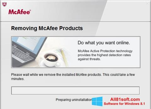 Snimak zaslona McAfee Consumer Product Removal Tool Windows 8.1
