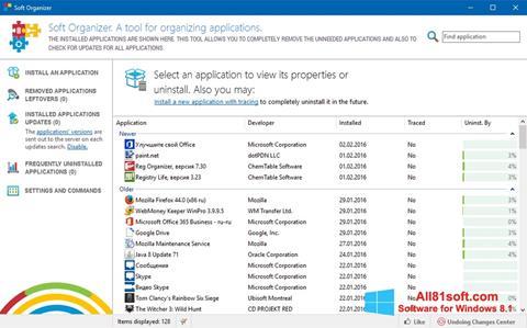 Snimak zaslona Soft Organizer Windows 8.1