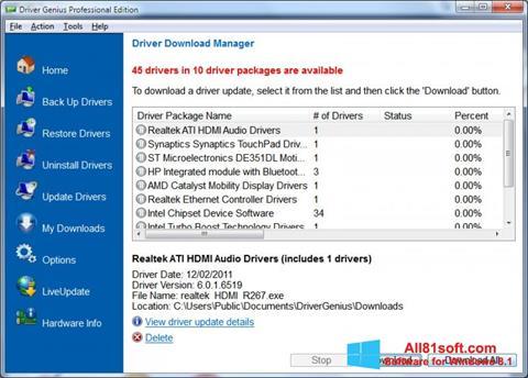 Snimak zaslona Driver Genius Professional Windows 8.1