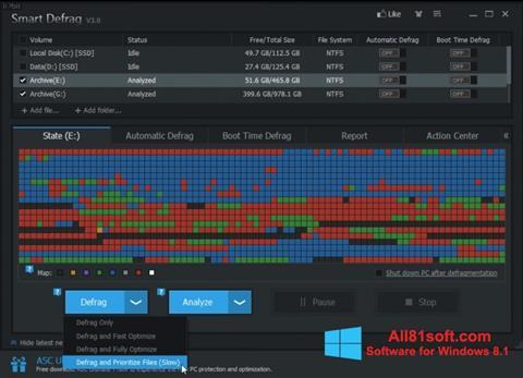 Snimak zaslona Smart Defrag Windows 8.1