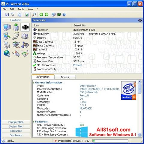 Snimak zaslona PC Wizard Windows 8.1