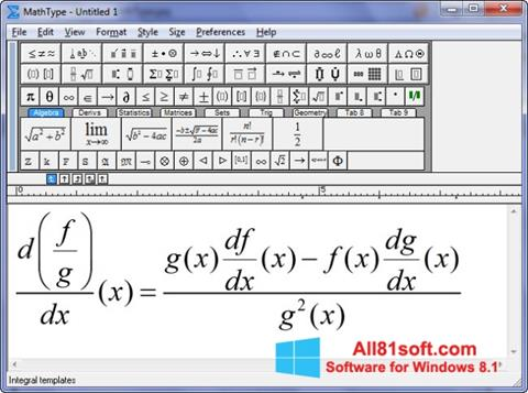Snimak zaslona MathType Windows 8.1