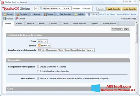 Snimak zaslona Zimbra Desktop Windows 8.1