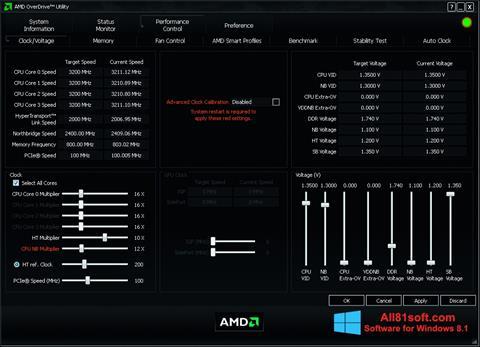 Snimak zaslona AMD Overdrive Windows 8.1