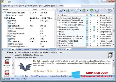 Snimak zaslona The Bat! Windows 8.1