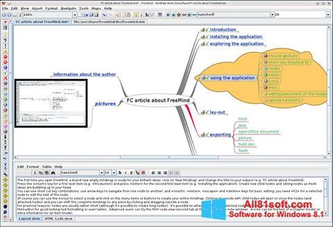 Snimak zaslona FreeMind Windows 8.1